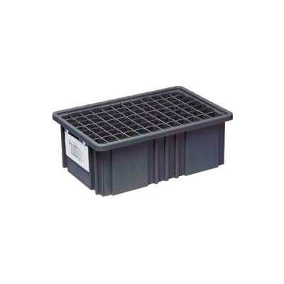 "Quantum Conductive Dividable Grid Container - DG92080CO, 16-1/2""L x 10-7/8""W x 8""H, Black - Pkg Qty 8"