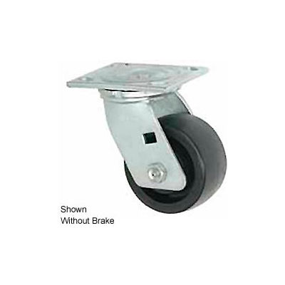 """Faultless Swivel Plate Caster 1465W-8RB 8"""" Thermoplastic Wheel with Brake"""