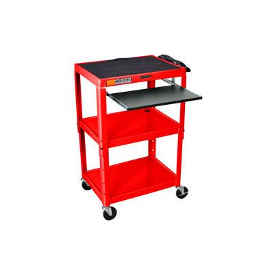 Luxor Red Adjustable Steel Workstation With Sliding Keyboard Shelf