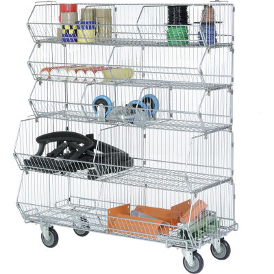 "Global Industrial™ Modular Wire Stacking Bin Basket Rack, 36""W x 20""D x 48""H, 5 Wire Bins"
