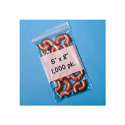 """Resealable Poly Bags With Write-On Label 5"""" x 8"""" 2 Mil 1,000 Pack"""