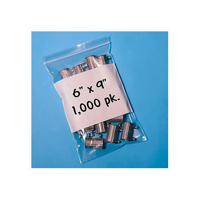 "Resealable Poly Bags With Write-On Label 6"" x 9"" 2 Mil 1,000 Pack"