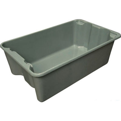 "Molded Fiberglass Toteline Nest and Stack Tote 780508 - 24-1/4"" x 14-3/4"" x 8"", Gray - Pkg Qty 10"