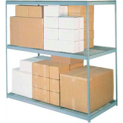 Global Industrial™ Wide Span Rack 48Wx24Dx60H, 3 Shelves Wire Deck 1200 Lb Cap. Per Level, Gray