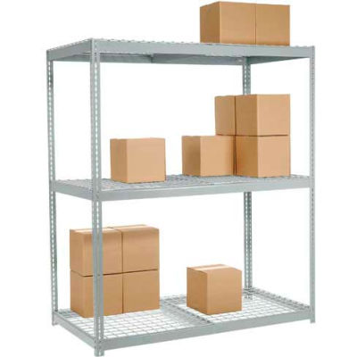 Global Industrial™ Wide Span Rack 48Wx24Dx96H, 3 Shelves Wire Deck 1200 Lb Cap. Per Level, Gray