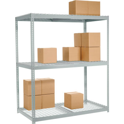Global Industrial™ Wide Span Rack 60Wx36Dx96H, 3 Shelves Wire Deck 1200 Lb Cap. Per Level, Gray