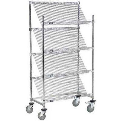 "Nexel® Slant Wire Shelving Suture Cart, 4 Shelves, 48""W x 18""L x 69""H"