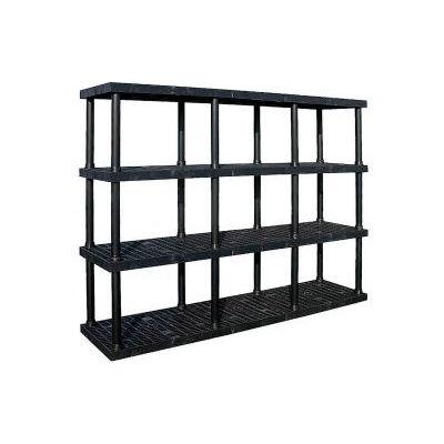 "Structural Plastic Adjustable Vented Shelving, 96""W x 16""D x 72""H, Black"