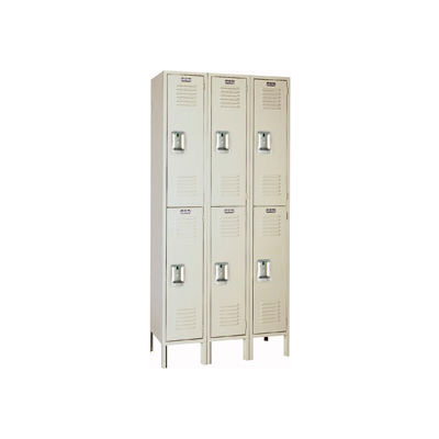 Lyon Locker PP52223 Double Tier 12x18x36 3-Wide Recessed Handle Ready To Assemble Putty