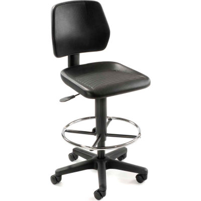 Interion® Task Stool with 360 Footrest- Polyurethane - Black