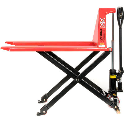Manual High-Lift Skid Jack Truck 2200 Lb. Capacity - 27 x 45 Forks