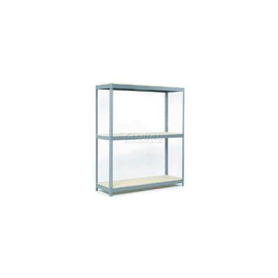 Global Industrial™ Wide Span Rack 60Wx24Dx96H, 3 Shelves Wood Deck 1200 Lb Cap. Per Level, Gray