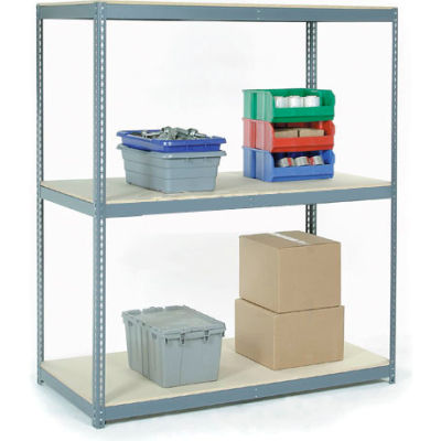 Global Industrial™ Wide Span Rack 60Wx36Dx96H, 3 Shelves Wood Deck 1200 Lb Cap. Per Level, Gray
