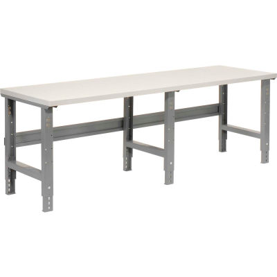"96""W x 36""D Adjustable Height Workbench C-Channel Leg - Plastic Laminate Square Edge - Gray"