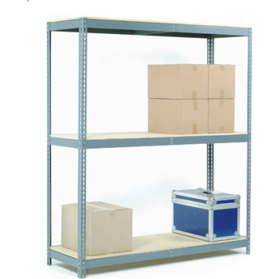 Global Industrial™ Wide Span Rack 48Wx36Dx84H, 3 Shelves Wood Deck 1200 Lb Cap. Per Level, Gray