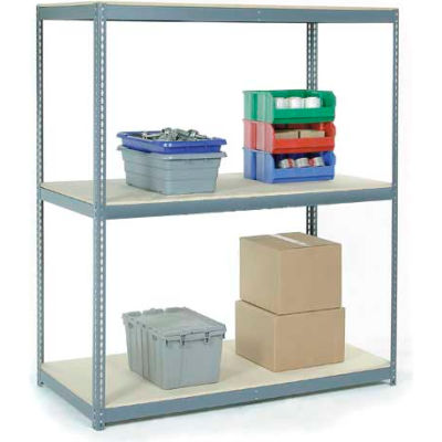 Global Industrial™ Wide Span Rack 96Wx36Dx84H, 3 Shelves Wood Deck 1100 Lb Cap. Per Level, Gray