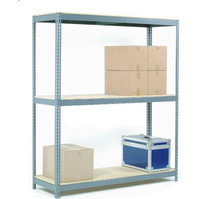 Global Industrial™ Wide Span Rack 96Wx48Dx84H, 3 Shelves Wood Deck 800 Lb Cap. Per Level, Gray