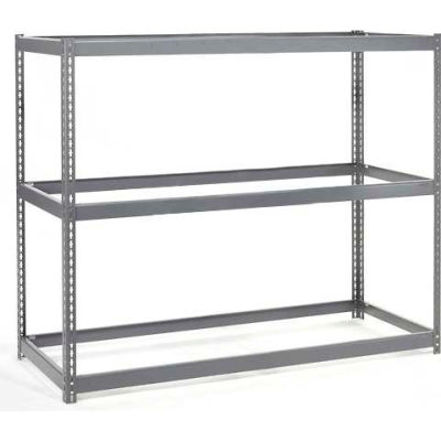 Global Industrial™ Wide Span Rack 72Wx15Dx84H, 3 Shelves No Deck 900 Lb Cap. Per Level, Gray