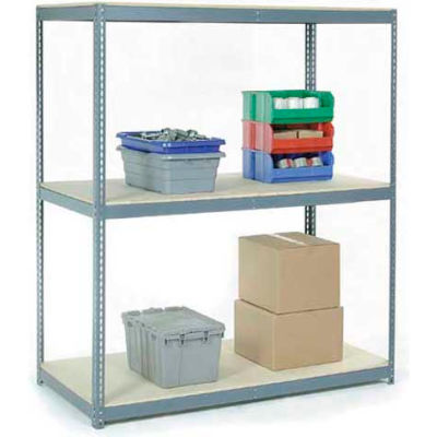 Global Industrial™ Wide Span Rack 96Wx48Dx60H, 3 Shelves Wood Deck 800 Lb Cap. Per Level, Gray