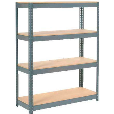 """Global Industrial™ Extra Heavy Duty Shelving, Wood Deck, 4 Shelves, 48""""Wx12""""Dx60""""H, Gray"""