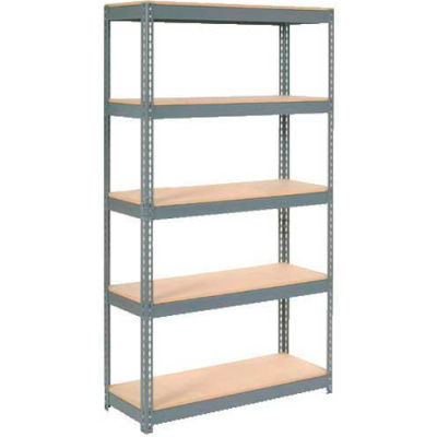"Extra Heavy Duty Shelving 48""W x 12""D x 84""H With 5 Shelves - Wood Deck - Gray"