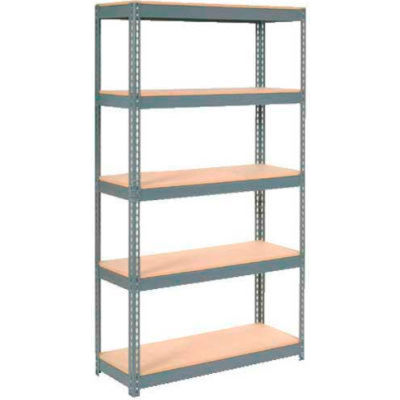 """Global Industrial™ Extra Heavy Duty Shelving 48""""W x 12""""D x 96""""H With 5 Shelves, Wood Deck, Gry"""