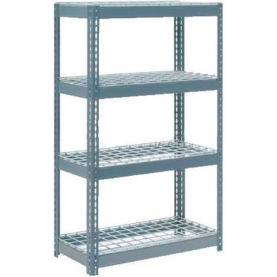 "Extra Heavy Duty Shelving 36""W x 24""D x 60""H With 4 Shelves - Wire Deck - Gray"