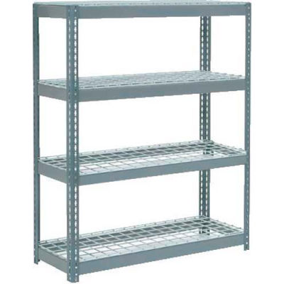 """Global Industrial™ Extra Heavy Duty Shelving 48""""W x 18""""D x 60""""H With 4 Shelves, Wire Deck, Gry"""