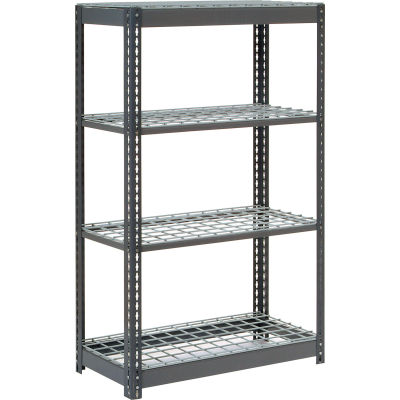 """Global Industrial™ Heavy Duty Shelving 48""""W x 12""""D x 60""""H With 4 Shelves - Wire Deck - Gray"""