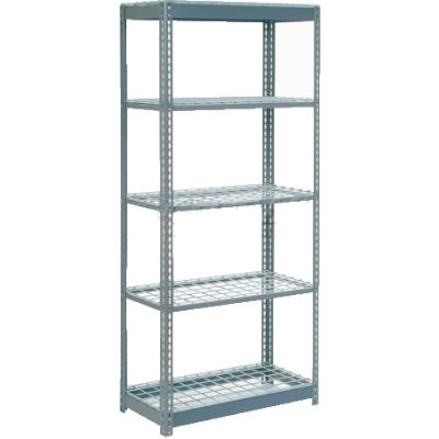 "Global Industrial™ Heavy Duty Shelving 36""W x 12""D x 84""H With 5 Shelves - Wire Deck - Gray"
