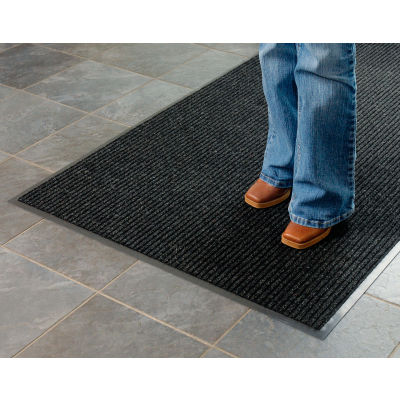 "Apache Mills Brush & Clean™ Entrance Mat 3/8"" Thick 3' x 4' Charcoal"