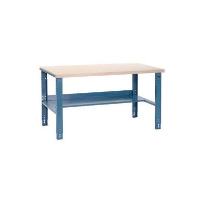 "60""W x 30""D Industrial Workbench, Plastic Laminate Square Edge - Blue"