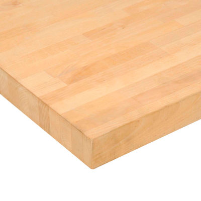 "96""W x 30""D x 1-3/4"" Thick Maple Butcher Block Square Edge Workbench Top"