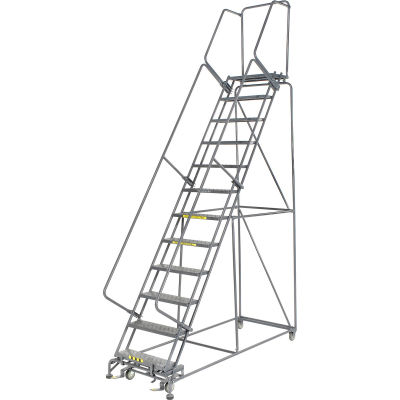 """Perforated 24""""W 12 Step Steel Rolling Ladder 21""""D Top Step"""