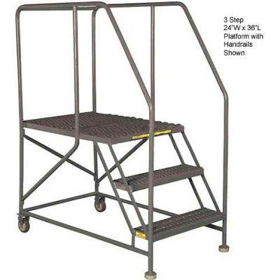 "Mobile 3 Step Steel 24""W X 36""L Work Platform Ladder With Handrails - WLWP132436"