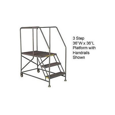 "Mobile 3 Step Steel 36""W X 36""L Work Platform Ladder With Handrails - WLWP133636"