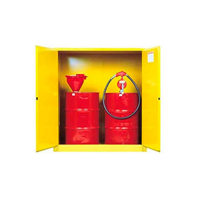 Justrite® Drum Cabinet 110 Gal. Capacity Vertical Manual Close Flammable W/ Drum Support
