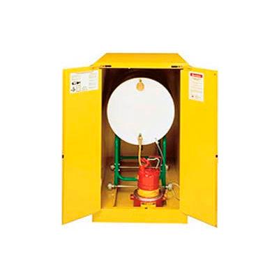 Justrite® Drum Cabinet 110 Gal Capacity Horizontal Self Close Flammable W/ Drum Rollers