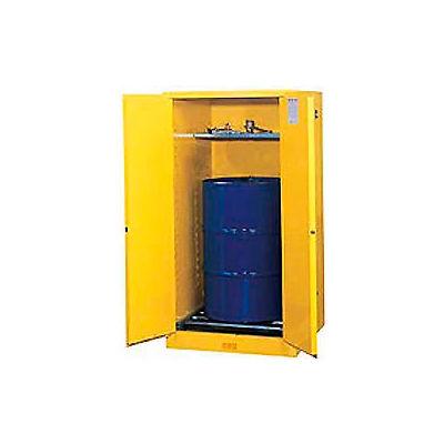 Drum Cabinet 55 Gal. Capacity Vertical Self Close Flammable W/ Drum Rollers