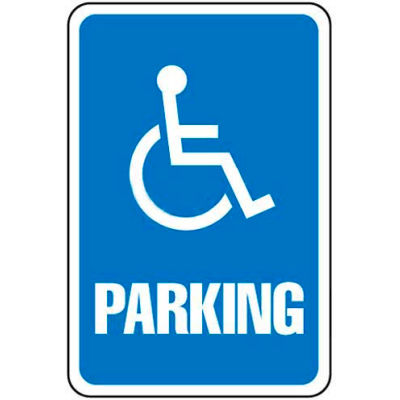 "Global Industrial™ Aluminum Sign - Parking Sign - Handicap Symbol, .063"" Thick, 649151"