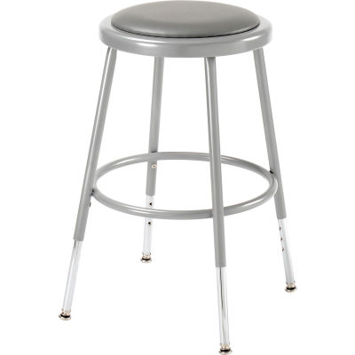 "Interion® Steel Shop Stool with Padded Seat - Adjustable Height 19"" - 27"" - Gray - Pack of 2"