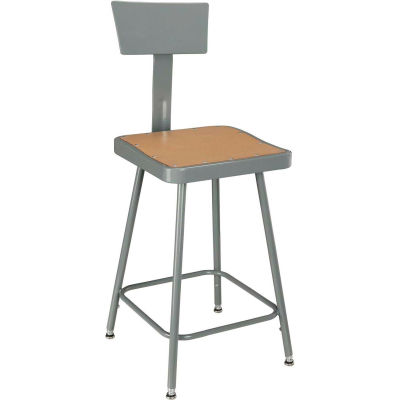 """Interion® Shop Stool with Backrest - Steel - Adjustable Height 18"""" - 27"""" - Gray - Pkg Qty 2"""