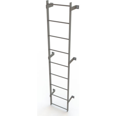 Tri-Arc Steel 9-Step Standard Uncaged Fixed Access Ladder, 8', Gray