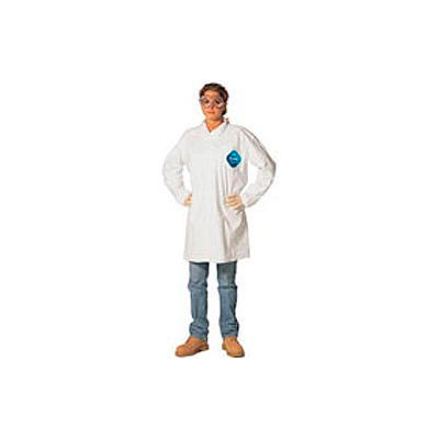 Disposable Lab Coat - 2 Pocket - Open Collar - Snap Front, L, Case Of 30