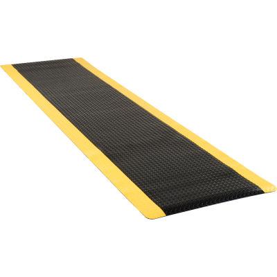"Apache Mills Diamond Foot™ Diamond Plate Mat 15/16"" Thick 3' x 12' Black/Yellow Border"