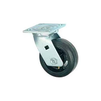 """Faultless Swivel Plate Caster 1418-6 6"""" Mold-On Rubber Wheel"""