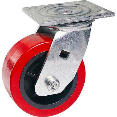 """Faultless Swivel Plate Caster 1498-6 6"""" Polyurethane Wheel"""