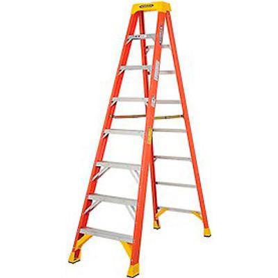 Werner 8' Fiberglass Step Ladder w/ Plastic Tool Tray 300 lb. Cap - 6208