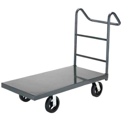 "Steel Deck Platform Truck 48 x 30 2400 Lb. Capacity 8"" Rubber Casters with Ergo Handle"