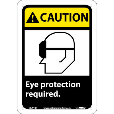 """Graphic Signs - Caution Eye Protection Required - Plastic 7""""W X 10""""H"""